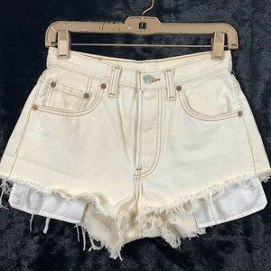 Levis 26 Cut Off Shorts Button Fly Faded Yellow